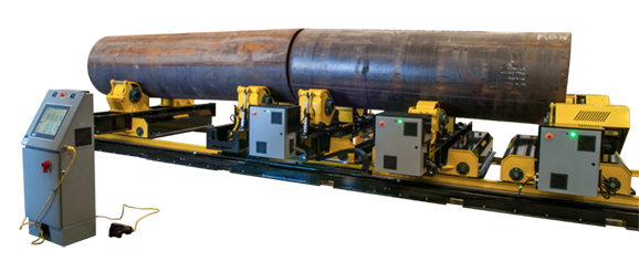 growing line turning roll pipe alignment system
