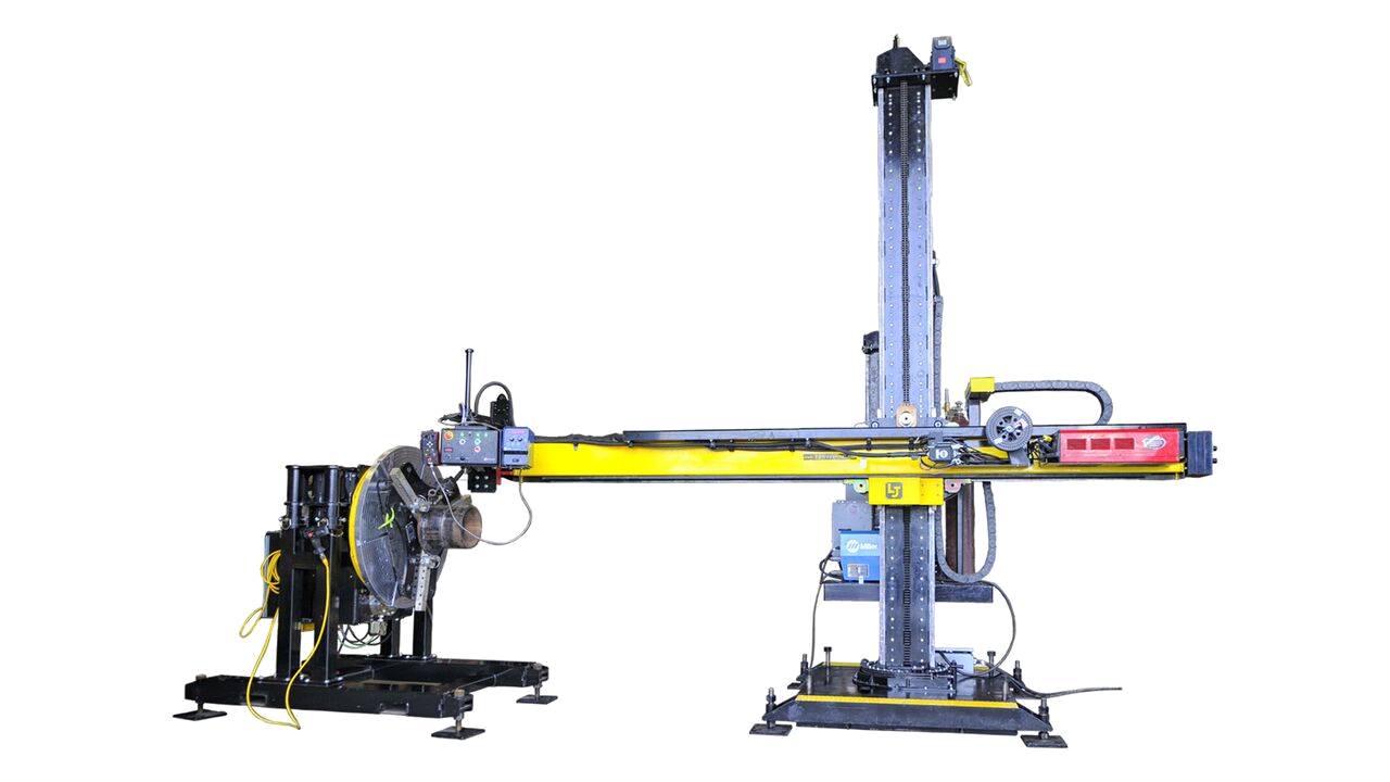 miller XMT MIG welding manipulator and positioner system