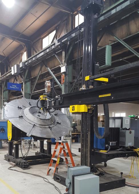 welding positioner with column boom manipulator