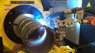 welding robot welds pipe