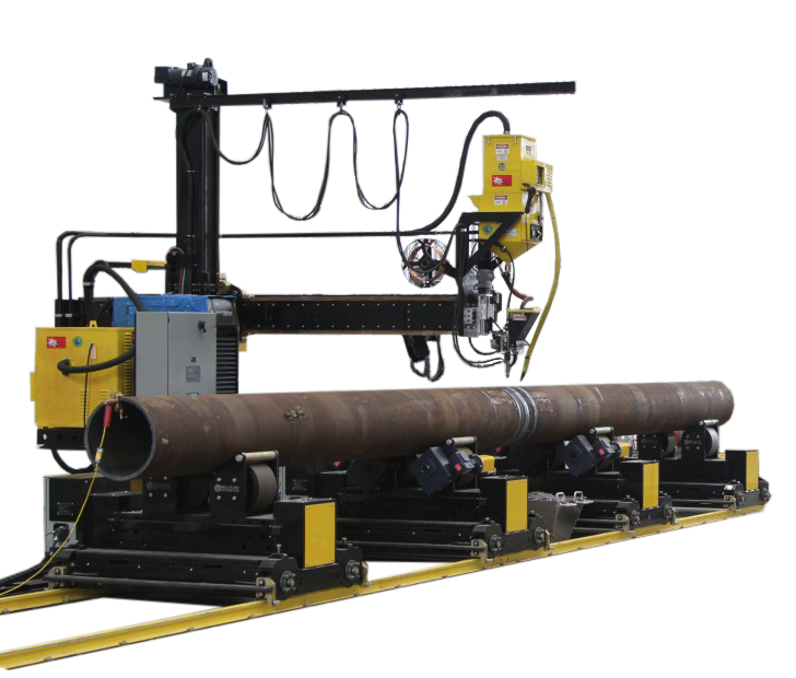 growing line with column and boom manipulator