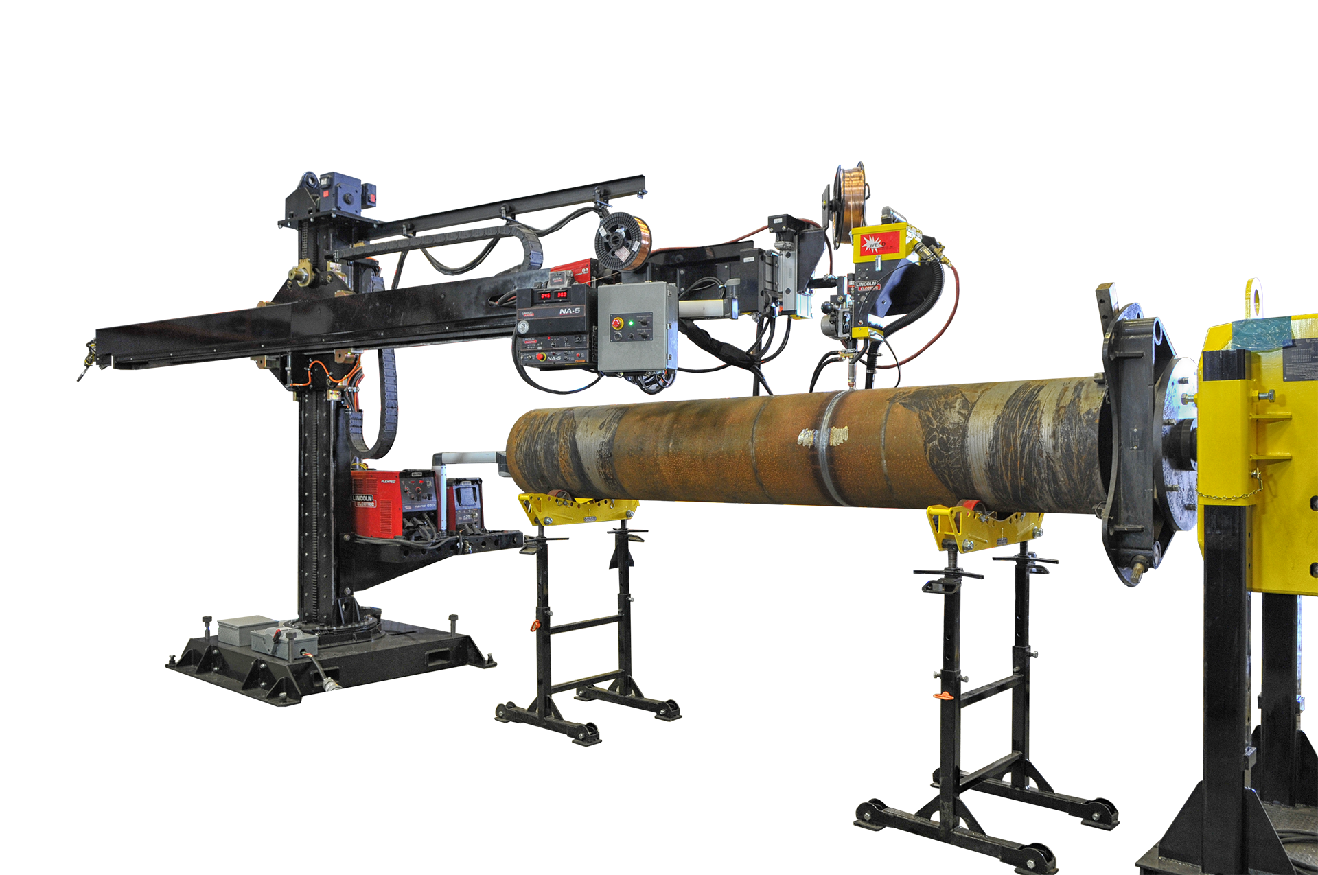 welding manipulator with weld positioner and pipe stand