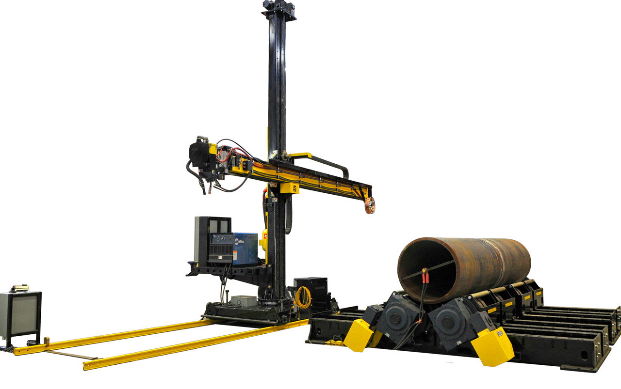 submerged arc column and boom welding manipulator turning roll system