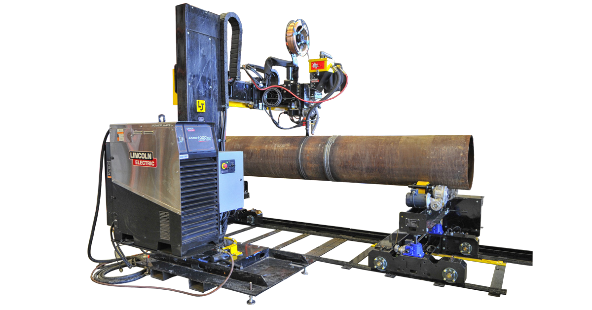 portable submerged arc column and boom manipulator with pipe joining rolls