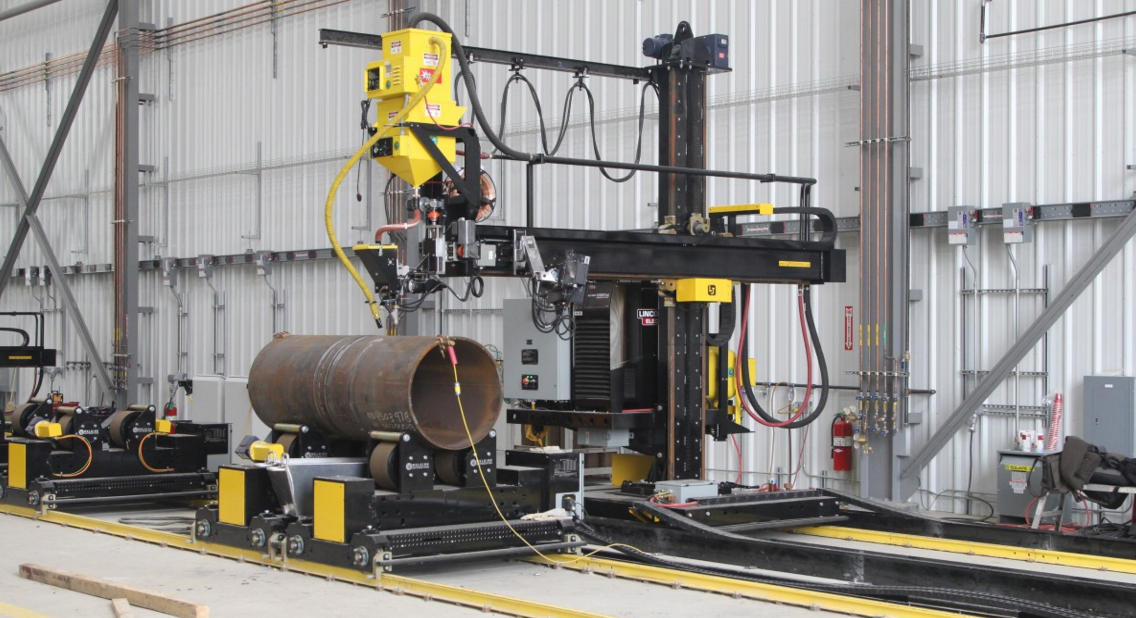 pipe double jointing fit up welding cell with submerged arc weld manipulator