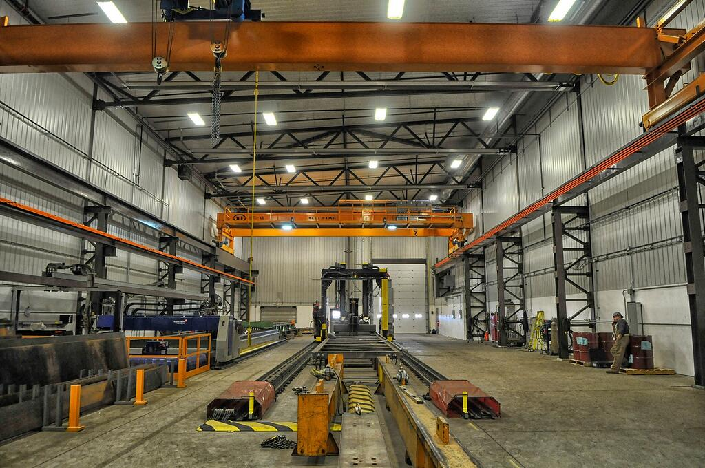 distanced view of beam welding gantry