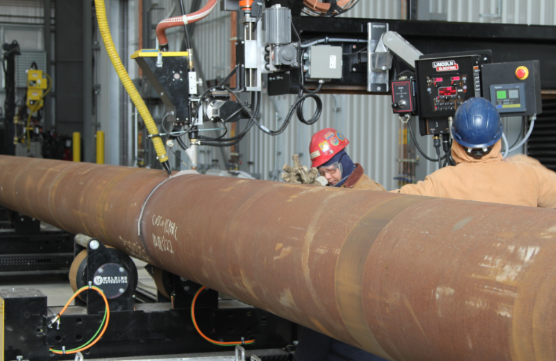 Semi-Automated Pipe Alignment Rolls & Welding Manipulator Reduce