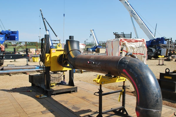 pipe welding positioner outside with pipe stand