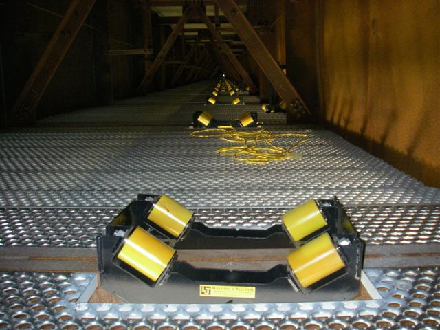i beam rollers ready for installation on bridge