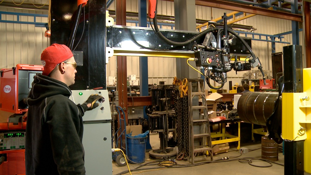 used sub arc column & boom welding manipulator 4' x 5' model and weld positioner for sale