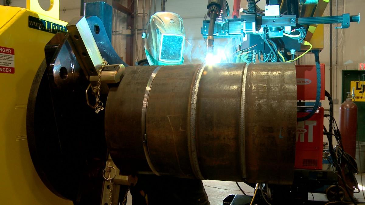 used welding rotator and submerged arc column & boom welding manipulator 4' x 5' model for sale