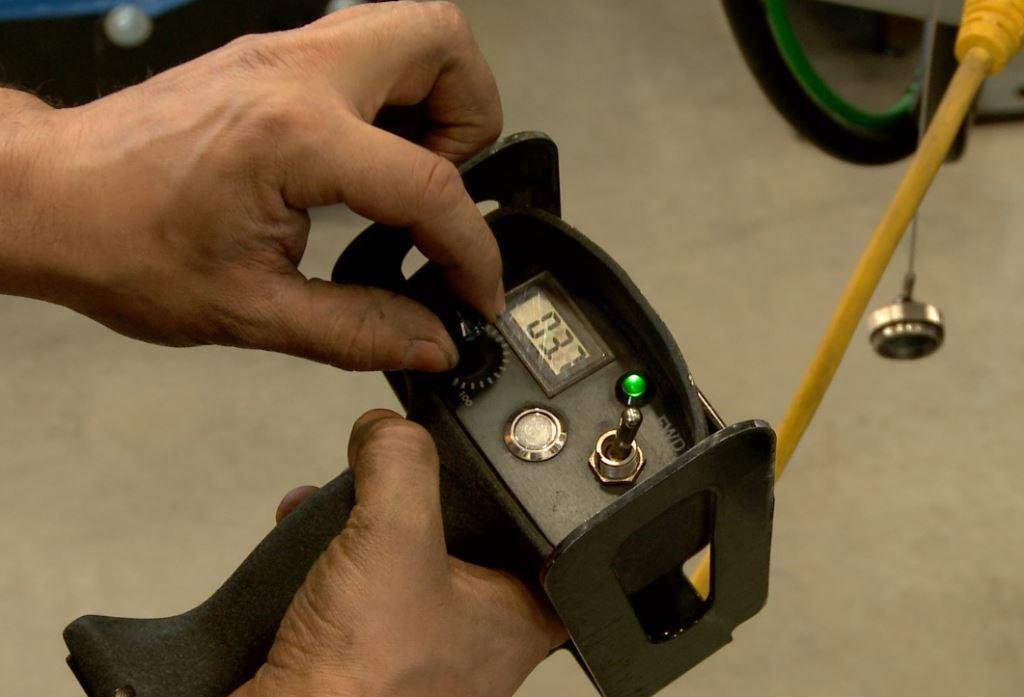 welding positioner hand pendant controller.
