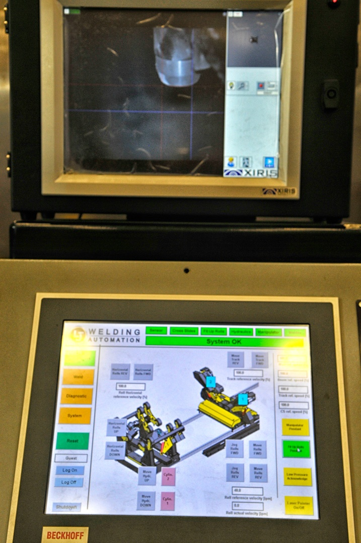 HMI controls for pipe tank alignment rolls and mig manipulator
