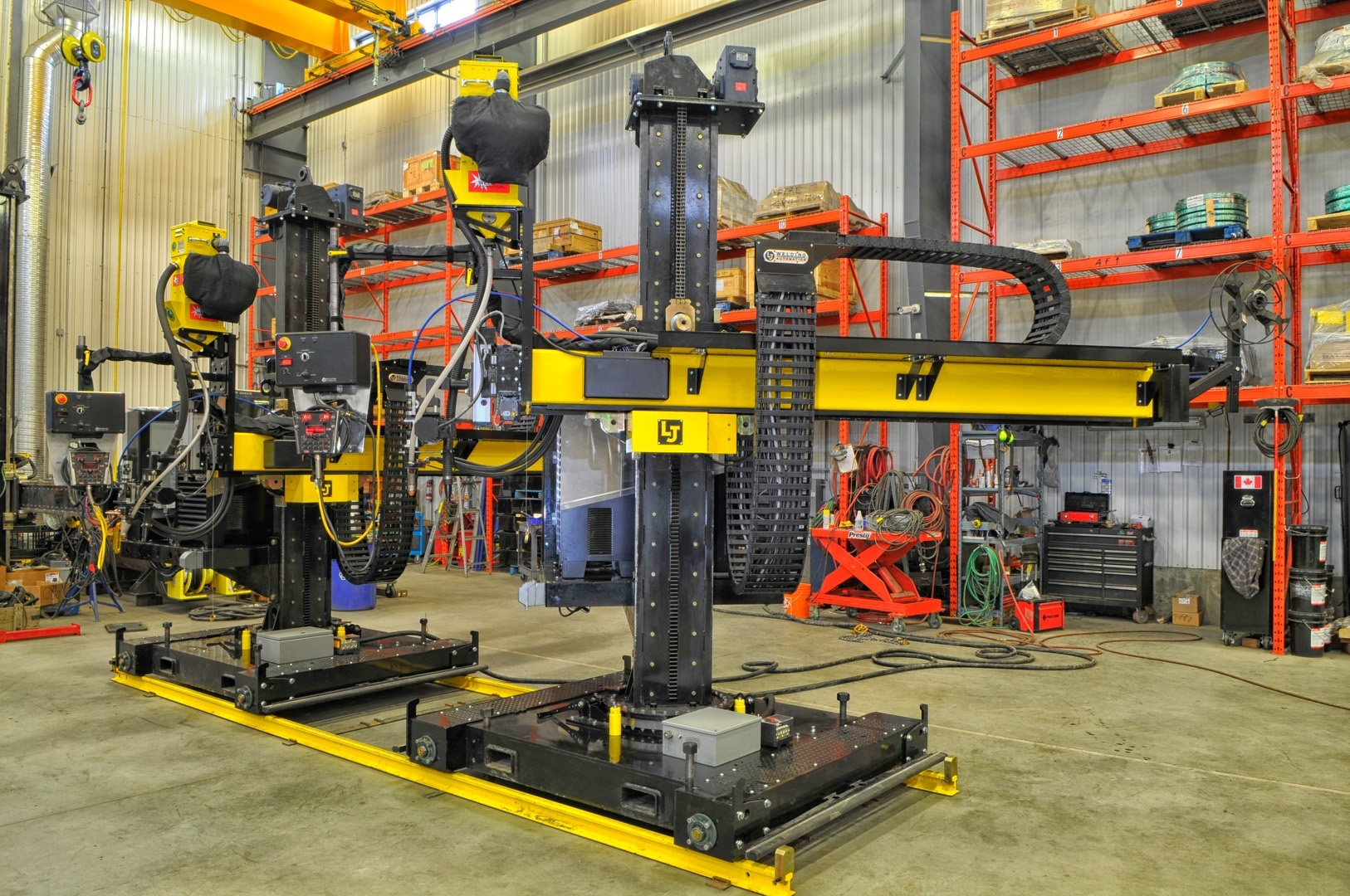 two column and boom welding manipulators for subarc fabrication.