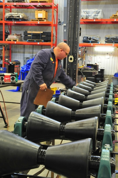 1-ton pipeline rollers undergoing quality control testing