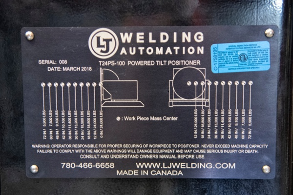 overhung load angles for the gear tilt welding positioner