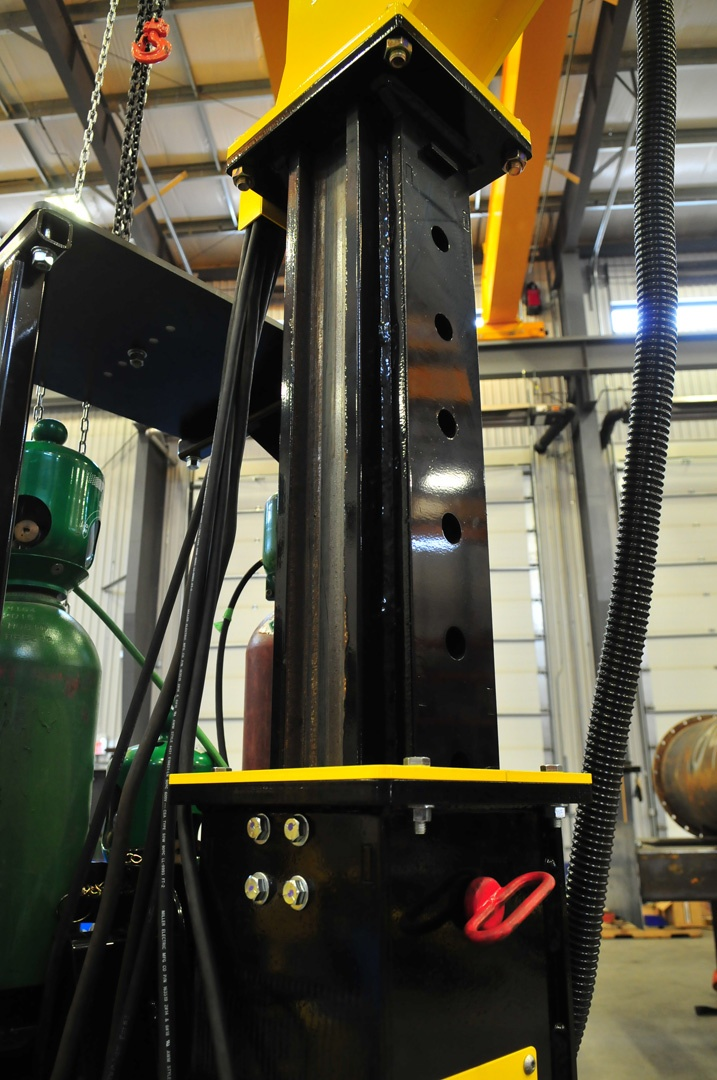 MIG welding boom mount height range